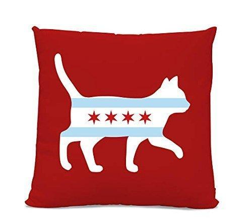 Chicago Flag Cat Pillow Cover - Cat pillowcase - Chicago Home Decor - Cat silhouette pillow cover - Cat Lover Gift - Chicago cat lover gift - 16x16 - Cute Gift (Silhouette Poms)