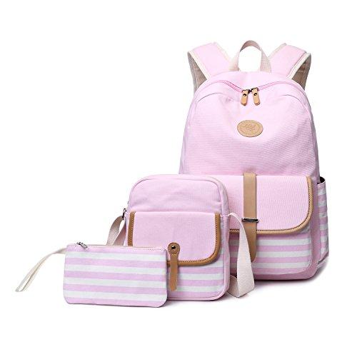 Abshoo Causal Travel Canvas Rucksack Backpacks for Girls School Bookbags (Light Pink)