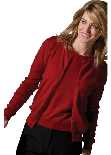 Edwards Garment Women's Jewel Neck Long Sleeve Cardigan_RED_X-Large