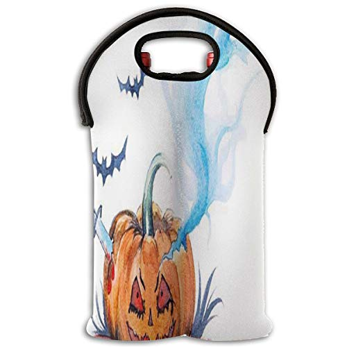 Wine Bag Watercolor Painting Halloween Evil Smiling 2 Bottle Red Wine Tote Bag Cooler Champagne Handle Bag