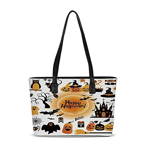 Halloween Decorations PU Shoulder Tote Bag,All Hallows Day Objects Haunted Hous -