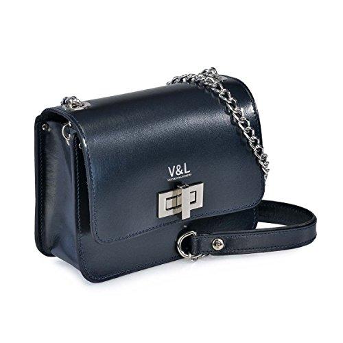 10320 Lucchino Azul Metalico de con de Bandolera Victorio amp; Bolso Cadena Mujer fwzx1Cq