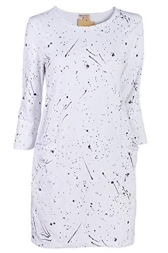 Blanc Femme noir Robe Mode Tunique Italienische Zqw6FRIgW