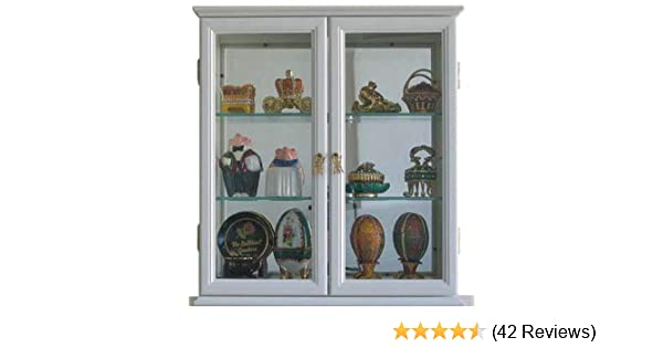 Amazon.com: Small Wall Mounted Curio Cabinet/Wall Display Case With Glass  Door (White): Kitchen U0026 Dining