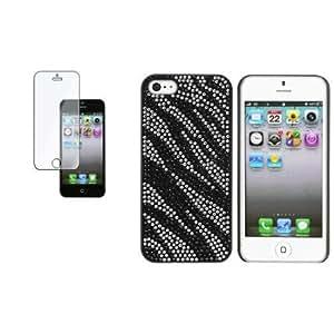 Bloutina CommonByte Black/White Zebra Bling Hard Cover Skin Case+Clear Film For iPhone 5 G 5th Gen