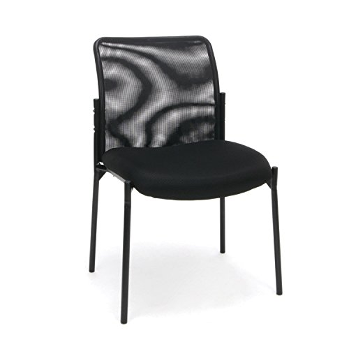 Essentials Mesh Upholstered Stacking Armless Guest/Reception Chair - Modern Stackable Office Chair (Back Steel Stacking Chairs)