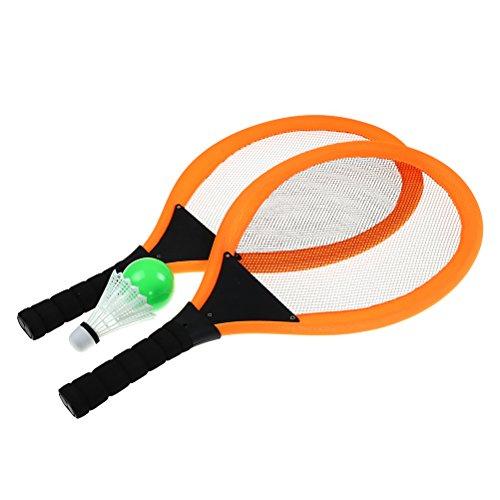 Eshylala Soft Tennis Rackets Set, Kids Soft Tennis Set Outdoor Garden Game Children Toy Soft Tennis and Badminton Set + Ocean ball, badminton (ORANGE)