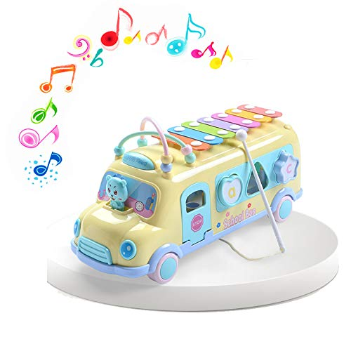 Jujuism Knocking Piano Bus Musical Toy Preschool Sorting Bump Educational Toys Gift for Baby Kids Girls Boys Toddlers Push & Pull - Shape Sorting Bus