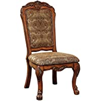 Furniture of America Victoria Fabric Upholstered Dining Side Chair, Antique Oak
