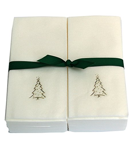 Disposable Guest Hand Towels Embossed with a Silver Christmas Tree - 50ct