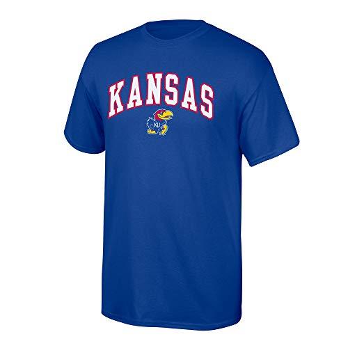 Elite Fan Shop NCAA Men's Kansas Jayhawks T Shirt Team Color Arch Kansas Jayhawks Blue Small