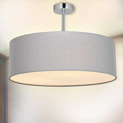 (Ceiling Light, SPAKRSOR Modern Fabric Pendant Light Shade, Large Grey Drum Lampshade, Round Pendant Lamp, for Bedroom Living Room, Flush Chrome Matt, 3 Bulb, E26 [Energy Class A++])