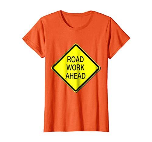 Womens Road Work Ahead Sign Simple Easy Halloween Costume T-Shirt Medium Orange