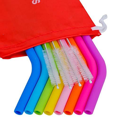 Mcool Reusable Straws 8Pcs 10 Medium Silicone Straws for 30&20OZ Yeti/Ozark/Rtic Tumblers+ 5 Brushes+ 1 Red Storage Pouch