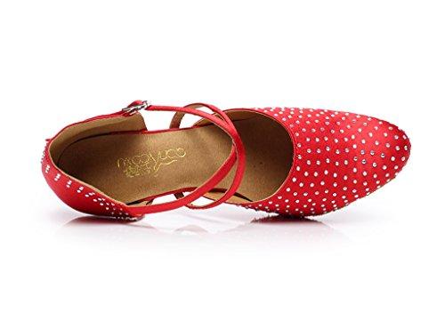Minishion Qj705 Cristaux Femmes Satin Sparkle Moderne Salsa Tango Salle De Bal Chaussures De Danse Latine Rouge