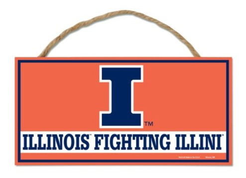 WinCraft NCAA University Illinois Fighting Illini Hanging Wood Sign with Rope, 5