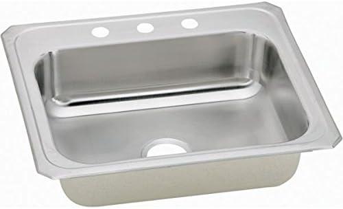 Elkay CR31221 1-Hole Gourmet Single Basin Drop-In Stainless Steel Kitchen Sink, 22-Inch x 31-Inch