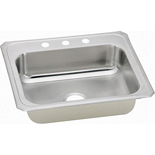 Elkao|#Elkay CR25222 20 Gauge Stainless Steel 25 Inch x 22 Inch x 7 Inch single Bowl Top Mount Kitchen Sink 2Hole, ()