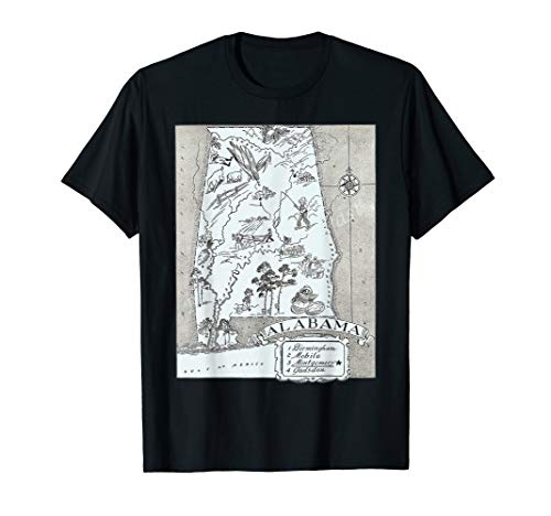 1930's State of Alabama Map T-Shirt ()