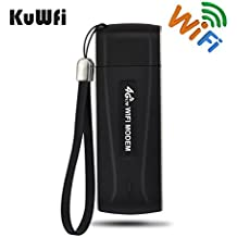KuWFi Unlocked Pocket 4G LTE USB Modem Router mobile WiFi Router Network Hotspot 3G 4G WiFi Modem Router with SIM Card Slot Support LTE FDD B1/B3/B5 Support AT&T and U.S. Cellular 4G for Car