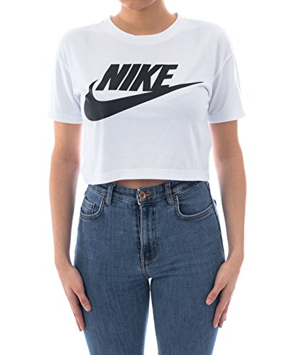 NIKE Womens Essential Short Sleeve Crop Top T-Shirt White/Black AA3144-100 Size Medium