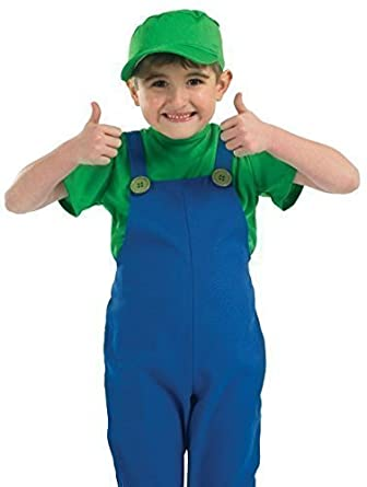 boys kids childs mario or luigi plumber 80s halloween fancy dress costume outfit 4 12