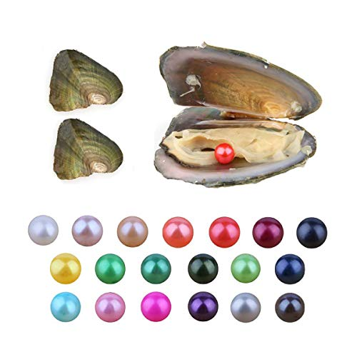 Pearl Oyster, Wholesale Freshwater Cultured Love Wish Pearl Oyster with 6.5-7.5mm Round Pearls Inside (10 PCS/lot)