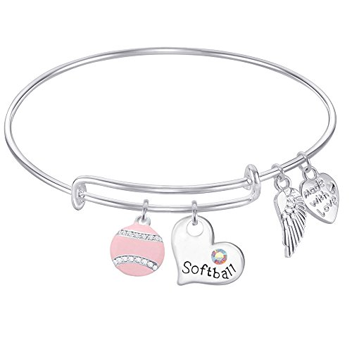 Softball Wire - SOFTBALL Expandable Wire Bangle Bracelet With Softball Charm, Love Softball Charm, Angel Wings GIFT BOXED