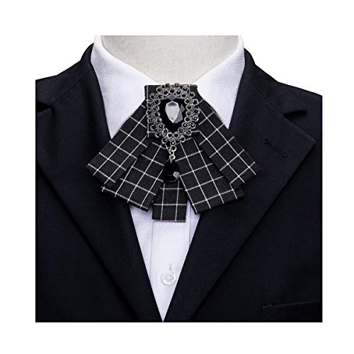 Check Tie Designer Bow Tie Collar Pre-Tied Women Ribbon Rhinestone Necktie Wedding Party