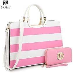 Dasein Designer Purse Stripes Satchel Handbag PU Leather Purse Top Handle Handbags (XL2828 stripe 2PCs- Pink/White)