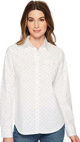 U.S. Polo Assn. Women's Stretch Poplin Dot Print Woven Shirt Optic White (Dot Print Shirt)