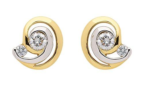 Boucles d'oreille avec Oxyde de Zirconium en or 3338carats rhodié