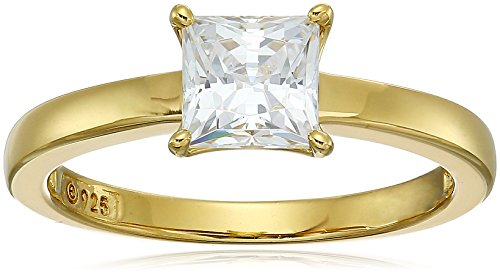 Amazon CollectionYellow Gold Plated Sterling Silver Swarovski Zirconia Princess Cut Solitaire Ring, Size 6