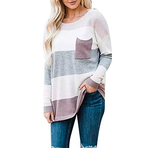 Women's Sweatshirt, FORUU Long Sleeve Stripe Sweater Oversized Knitted Pocket Jumper Pullover Top