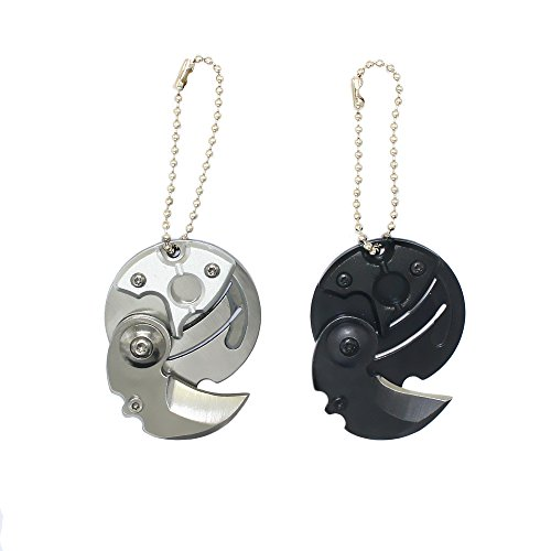 ZHU YU CHUN Stainless Steel Folding Pocket Knifes Coin Shaped Keychain, Fun Gifts, Outdoor Survival Tools(Pack of 2) (Black,Silver) -