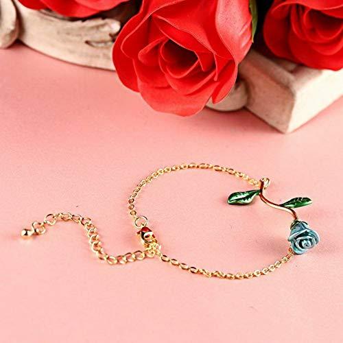 Mikash Women Rose Flower Gold Silver Chain Bangle Bracelet Wedding Bridal Jewelry Gifts | Model BRCLT - 11835 |