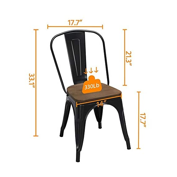 Yaheetech 18 Inch Classic Iron Metal Dinning Chair with Wood Top/Seat Indoor-Outdoor Use Chic Dining Bistro Cafe Side Barstool Bar Chair Coffee Chair Set of 4 Black - 🐬Solid & durable: The seat of the side chair is made of wood and the other parts are made of iron. Offer you a comfortable seat and solid support. It is solid enough for your daily needs. The load-bearing capacity is 150kg/330lb. 🐬Stackable design with scratch-proof pads: You can stack these armless chairs on top of the other to save space for unused time. Rubber feet under the chair legs keep floors from sliding and scratching. Also, the rubber pads can reduce noise when you move the chairs. 🐬X-shape brace: The wooden surface is tightly screwed to the chair and the seat of the dinning chair is enforced by an X-shape brace below to provide more stability and load bearing. - kitchen-dining-room-furniture, kitchen-dining-room, kitchen-dining-room-chairs - 41LUw1nvDhL. SS570  -