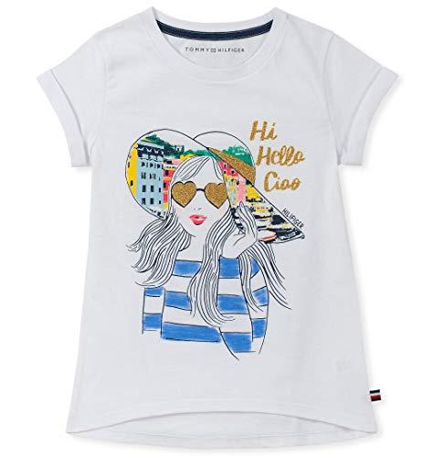 Tommy Hilfiger Big Girl's Girls' Big Short Sleeve Graphic Tee Shirt Shirt, white, Medium (8/10)