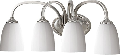 Feiss VS17404-BS Perry Glass Wall Vanity Bath Lighting, Satin Nickel, 4-Light 24 W x 9 H 400watts