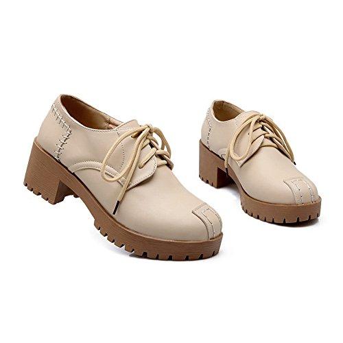 Balamasa Filles Bandage Chunky Talons Plate-forme Imité En Cuir Pompes-chaussures Beige