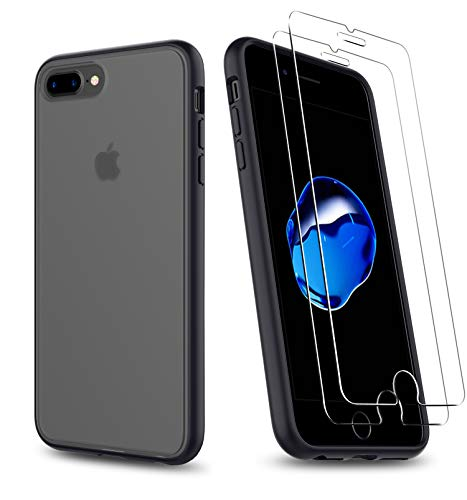 Uniwiland 2-in-1 iPhone 7 Plus Case/iPhone 8 Plus Case with 2 Packs Screen Protector, Matte Black Clear Back Drop Protection Case&Tempered Glass Screen Protector for iPhone 7 Plus/iPhone 8 Plus(Black)