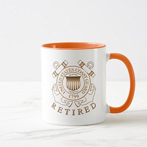 Mug Coast Guard (Zazzle Retired Coast Guard Coffee Mug, Orange Combo Mug 11 oz)