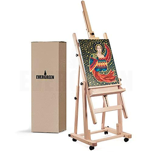 Heavy Duty H Frame Wooden Art Easel for Adults - Oil Painting Easel Stand Wood Artist Easels for Painting - Adjustable Standing Studio Floor Easel - Professional Art Supplies, Large Canvas up to 90""