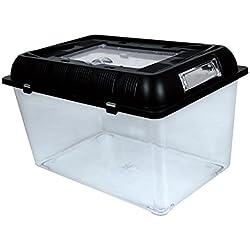Wildgirl Portable Fish Turtle Tank Black Lid Transparent Plastic Aquarium Terrarium (L)
