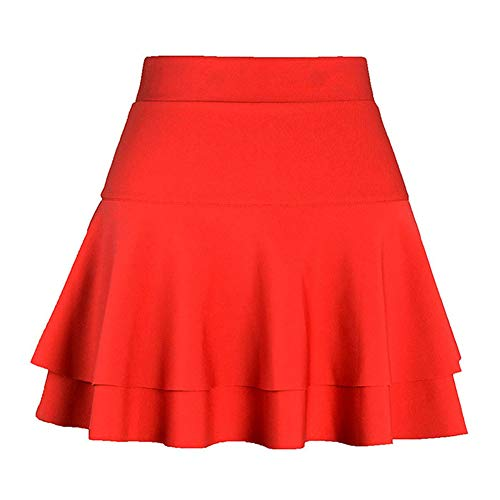 Rtro Polyester en Plisse vase Fille Femmes Rouge Courte Elastique Jupe Mini Liangzhu Jupes Basique Patineuse AaYqZA