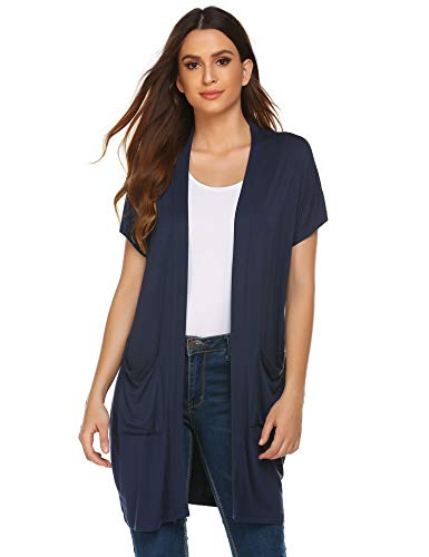 Zeagoo Extra Soft Solid Short Sleeve Bamboo Vest Cardigan Sweater for Women Navy Blue