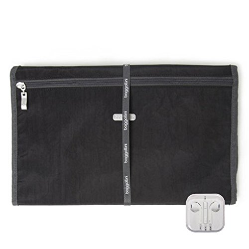 Baggallini Hanging Travel Essential Organizer, Earphones Bundle (Black Charcoal)