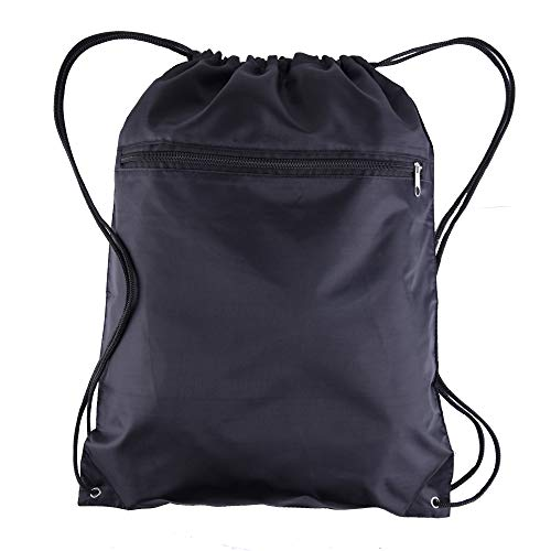 BagzDepot Polyester Drawstring Backpack Bags - 12 Pack - Wholesale Cinch Sack with Front Zipper Pocket Customizable School String Sack Packs for Kids, Boys, Girls, Adults - 15 Inch by 18 Inch (Black)