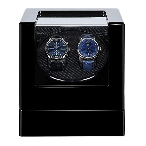 Kalawen Automatic Double Watch Winder Box for All Automatic Mechanical Watches with Quiet Motor AC Adapter or Battery Powered for 2 Men's or Ladies', Black