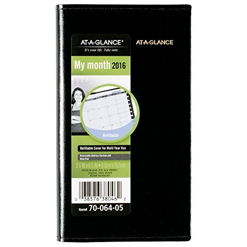 - AT-A-GLANCE Monthly Planner 2019, Refillable, 3-1/2 x 6-1/8 Inches, Black (70-064-05)